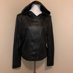 Black Rivet Black Leather Jacket,Size-XL